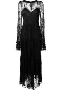 Black Coral Vestido Longo De Renda - Preto