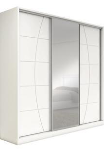 Guarda-Roupa Com 3 Portas De Correr E Espelho, Branco, Plinio