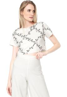 Blusa Cropped Lança Perfume Floral Off-White