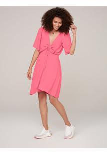 Vestido Curto Em Viscose Creponada - Rosa