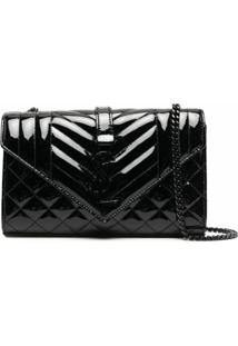 Saint Laurent Patent Finish Shoulder Bag - Preto