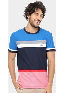 Camiseta Lacoste Listras Color Masculina - Masculino