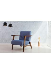 Poltrona Azul Claro - Poltrona Retrô Estofada Com Pés De Madeira - Verniz Capuccino\ Tec.930 - Lótus 73X72X83 Cm