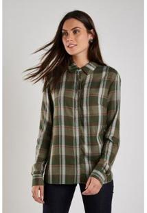 Camisa Sacada Xadrez Mountain Feminina - Feminino-Verde Escuro