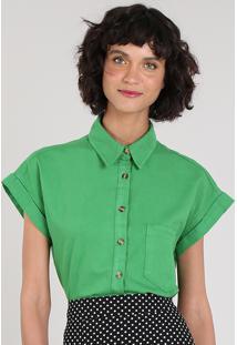 Camisa Feminina Mindset Com Bolso Manga Curta Verde
