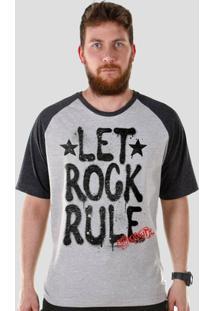 Camiseta Raglan Masculina Bandup! Aerosmith Let Rock Rule - Masculino-Preto+Cinza