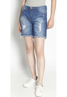 Bermuda Jeans Com Destroyed & Bigodes- Azul Clarodzarm
