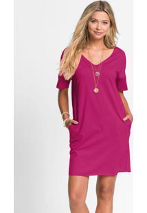 Vestido Básico Com Decote V Pink