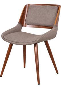 Cadeira Sueli Linho Marrom Mescla Com Base Madeira - 53312 - Sun House
