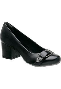 Sapato Tradicional Em Couro Com Fivela- Preta- Saltomr. Cat