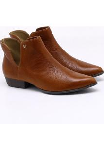 Ankle Boot Couro Marrom Noz