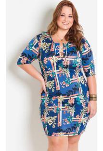 7b2b4da5c4 ... Vestido Com Cordel E Amarração Plus Size Floral