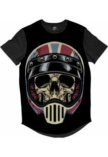 Camiseta Bsc Longline Caveira Capacete Motoqueiro 62 Sublimada Preta