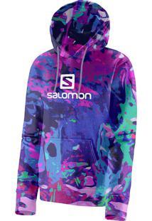 Blusa Feminina Salomon Logo Hoodie Graphic Azul E Rosa Tam. G