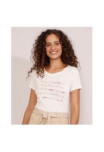 "Camiseta Feminina Manga Curta Sunny Side"" Decote Redondo Bege Claro"""