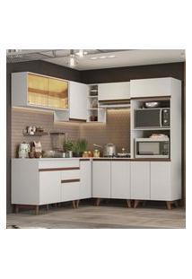 Cozinha Completa De Canto Madesa Reims 402001 Com Armário E Balcáo - Branco Branco