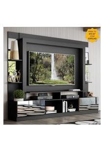 """Rack Estante C/ Painel Tv 65"""" E Espelho Oslo Multimóveis Preto/Madeirado"""