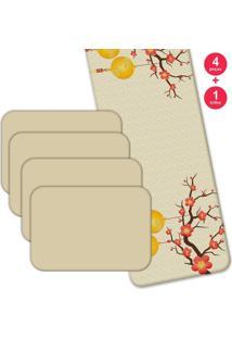 Jogo Americano Love Decor Com Caminho De Mesa Arvore De Cerejeira Kit Com 4 Pçs 1 Trilho