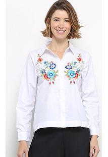 Camisa Manga Longa Anany Floral Bordada Feminina - Feminino