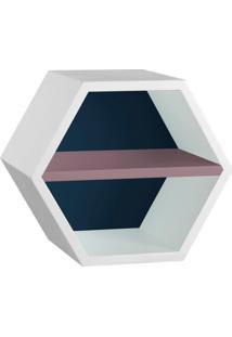 Nicho Hexagonal Favo Ii Com Prateleira Branco Com Azul Noite E Lilás