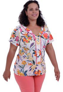 Blusa Cloe Pompom Plus Size Vickttoria Vick Plus Size Bege
