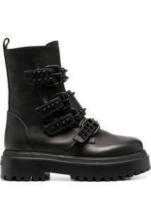 Le Silla Ankle Boot Com Fivela E Tachas - Preto