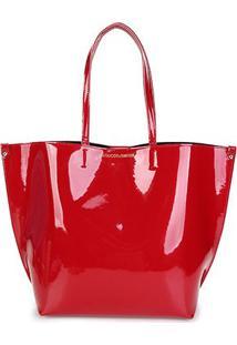 Bolsa Loucos & Santos Shopper Verniz Soft Feminina - Feminino-Vermelho