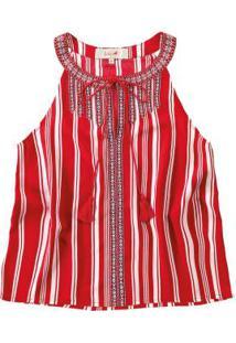 Blusa Vermelho Listrada Enfim