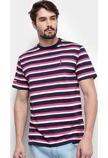 Camiseta Aleatory Listrada Masculina - Masculino-Marinho+Pink