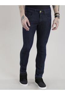 Calça Jeans Slim Com Algodão + Sustentável Azul Escuro