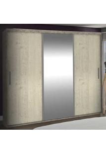 Guarda-Roupa Casal 3 Portas Com 1 Espelho 100% Mdf 1985E1 Demol/Marfim Areia - Foscarini