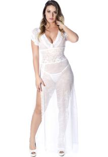 Camisola Yasmin Lingerie Magic Longa Branco