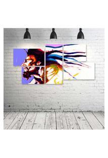 Quadro Decorativo - Bob-Marley-Painting - Composto De 5 Quadros