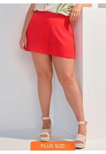 Shorts Tecido Rayon Twill Vermelho