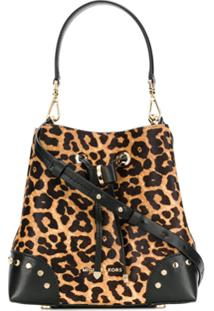 Michael Michael Kors Leopard Print Bucket Bag - Marrom
