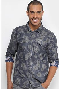 Camisa Cavalera Manga Longa Tinturada Flores Masculina - Masculino