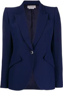 Alexander Mcqueen Blazer Com Ombreiras - Azul