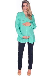 Camisa Manga Curta Bebê A Bordo Gestante 2 Verde