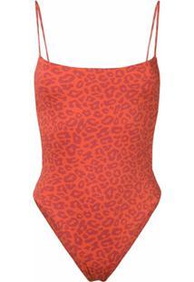 Sian Swimwear Maiô Com Animal Print - Laranja