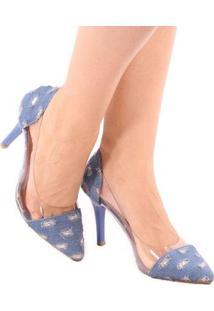 Scarpin Zhaceci Salto Alto Jeans Transparência Feminino - Feminino-Azul
