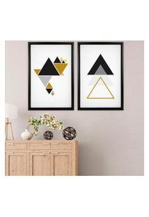 Quadro Com Moldura Chanfrada Triângulos Dourados Preto - Médio