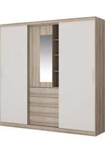 Guarda-Roupa Aries Com Espelho - 2 Portas - Anís Com Camurça