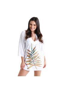 Vestido Gola V Laise Folhas De Outono Branco - Branco - Líquido