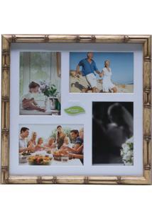 Painel Bambu Collection Para 4 Fotos 10X15 Com Margem Branca - Woodart Marrom