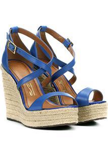 Sandália Anabela Couro Santa Lolla Tiras Cruzadas Feminina - Feminino-Azul