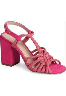 Sandália Salto Grosso Lara Macramê Rosa Pink