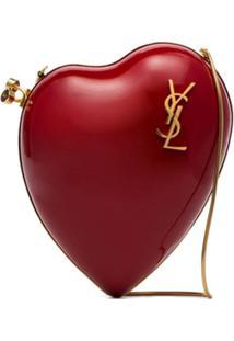 Saint Laurent Bolsa Tiracolo Love Box De Couro - Vermelho
