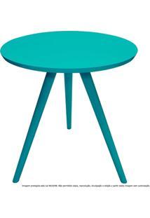 Mesa Lateral De Canto Tripé Laqueada Azul Tiffany