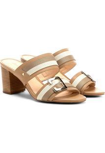 Sandália Shoestock Salto Grosso Gorgorão Feminina - Feminino-Bege