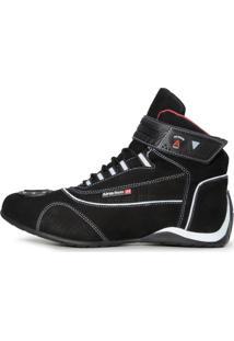 Tênis Esportivo Atron Shoes Refletivo Motociclista Cano Médio Em Couro Preto